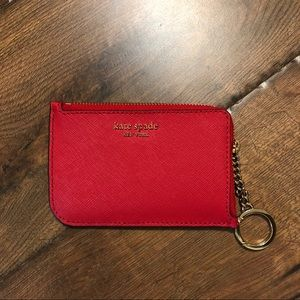 kate spade Bags - KATE SPADE Small Red Zipper Card and Coin Holder